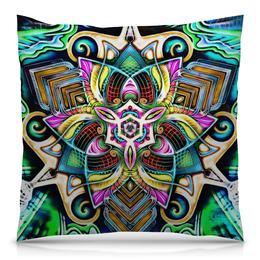 "Подушка 40х40 с полной запечаткой ""Mandala HD 4"" - узор, ретро, классика, этно, симметрия"