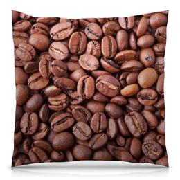 """Подушка 40х40 с полной запечаткой """"Зерна кофе"""" - утро, чашка, напиток, кофе, крепкий"""