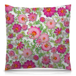 """Подушка 40х40 с полной запечаткой """"Розовые цветы"""" - цветы, весна, розовый, узор, цветочки"""