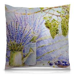"""Подушка 40х40 с полной запечаткой """"Лавандовый прованс"""" - цветы, рисунок, виноград, лаванда, прованс"""