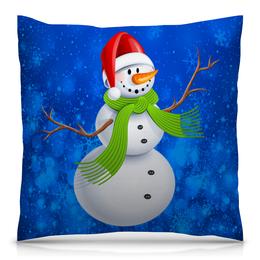 """Подушка 40х40 с полной запечаткой """"Снеговик"""" - новый год, зима, снеговик, снежинки, праздник"""