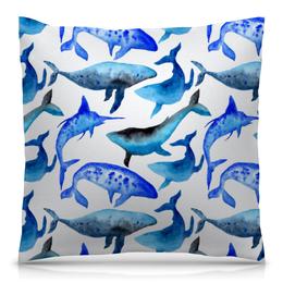 """Подушка 40х40 с полной запечаткой """"Акварельные киты"""" - голубой, синий, акварель, кит, киты"""