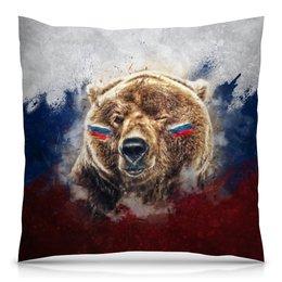 """Подушка 40х40 с полной запечаткой """"Русский Медведь"""" - футбол, медведь, россия, флаг, триколор"""