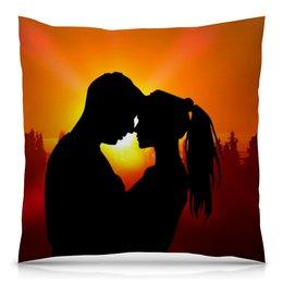 "Подушка 40х40 с полной запечаткой ""На закате"" - любовь, подарок, вместе, вечер, на закате"
