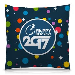"Подушка 40х40 с полной запечаткой ""Happy New Year 2017"" - новый год, new year, нг, 2017"