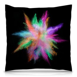 """Подушка 40х40 с полной запечаткой """"Взрыв красок"""" - радуга, салют, вспышка, брызги, краски"""