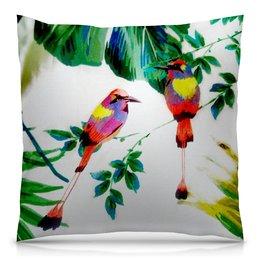 """Подушка 40х40 с полной запечаткой """"попугаи"""" - цветы, листья, яркий, попугай, тропики"""