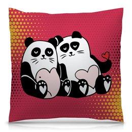 """Подушка 40х40 с полной запечаткой """"Влюблённые панды"""" - любовь, сердца, день святого валентина, панда, пара"""