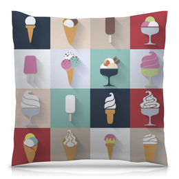 """Подушка 40х40 с полной запечаткой """"Ice Cream"""" - десерт, мороженное, кафе, yammy"""