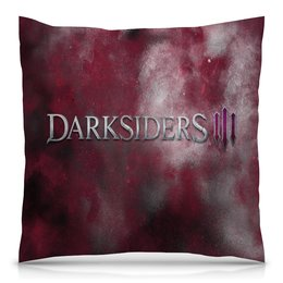 """Подушка 40х40 с полной запечаткой """"Darksiders"""" - игры, компьютерные игры, надписи, darksiders, дарксайдерс"""