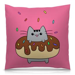 """Подушка 40х40 с полной запечаткой """"Котик в пончике"""" - кот, арт, пончик"""