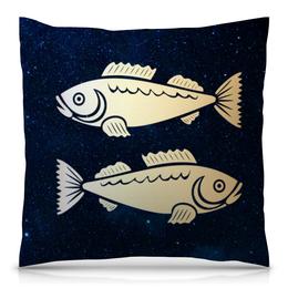 "Подушка 40х40 с полной запечаткой ""Рыбы (Рыбицы)"" - рыбы, знаки зодиака"