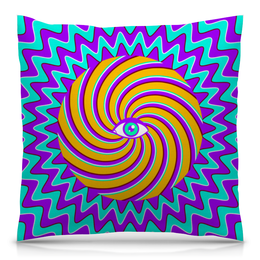 """Подушка 40х40 с полной запечаткой """"HYPNO EYE"""" - арт, дизайн, абстракция, optical illusion, оптическая иллюзия"""