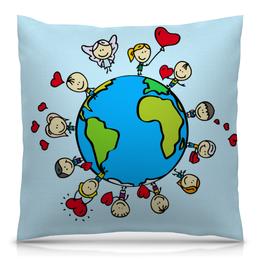 """Подушка 40х40 с полной запечаткой """"Планета"""" - сердце, планета, земля, люди, шар"""