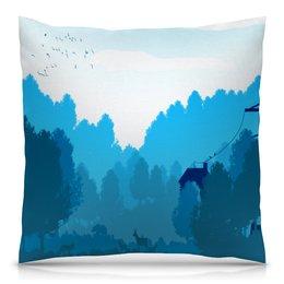 """Подушка 40х40 с полной запечаткой """"Природа"""" - деревья, пейзаж, природа, животные, лес"""