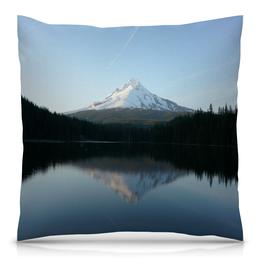 """Подушка 40х40 с полной запечаткой """"Отражение"""" - природа, горы, вода, пейзаж, скала"""