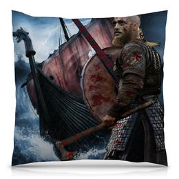 "Подушка 40х40 с полной запечаткой ""Викинги / Vikings"" - кино, сериал, викинги, лотброк, дракар"