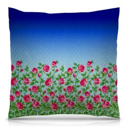 """Подушка 40х40 с полной запечаткой """"Розовый куст"""" - цветы, утро, розы, куст"""
