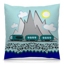 """Подушка 40х40 с полной запечаткой """"Путешествие на поезде вдоль моря и гор"""" - отдых, россия, сочи, отпуск, хочу на море"""