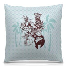 """Подушка 40х40 с полной запечаткой """"Тропики"""" - пальма, попугай, ананас, пастельные тона"""