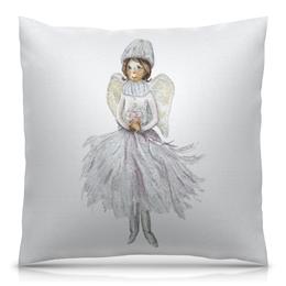 """Подушка 40х40 с полной запечаткой """"Снежный Ангел """" - новый год, зима, дом, подруге, уютный"""
