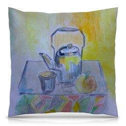 """Подушка 40х40 с полной запечаткой """"На кухне"""" - стакан, чай, яблоко, чайник, кухня"""