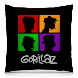 """Подушка 40х40 с полной запечаткой """"Gorillaz"""" - музыка, группы, gorillaz, гориллаз"""