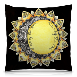 "Подушка 40х40 с полной запечаткой ""Love by the moon. Live by the sun"" - солнце, sun, луна, moon"