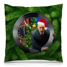 """Подушка 40х40 с полной запечаткой """"С Новым Годом! (Путин)"""" - юмор, новый год, путин, президент, елка"""