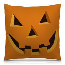 """Подушка 40х40 с полной запечаткой """"Светильник Джека"""" - праздник, хэллоуин, улыбка, тыква, вырезано"""
