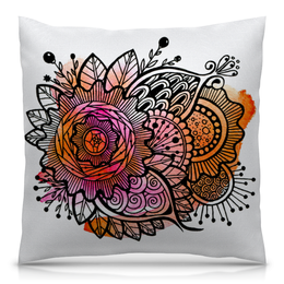 """Подушка 40х40 с полной запечаткой """"Апельсиновый цветок"""" - цветы, красная, сказка, яркая, фентези"""