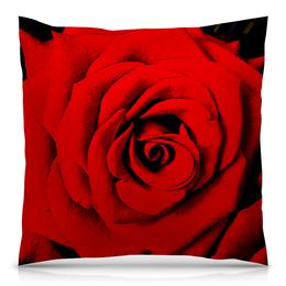 "Подушка 40х40 с полной запечаткой ""Красная роза "" - цветок, роза, красная роза"