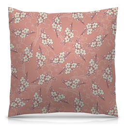 """Подушка 40х40 с полной запечаткой """"Цветочный принт"""" - цветы, рисунок, розовый, вишня, ветка"""