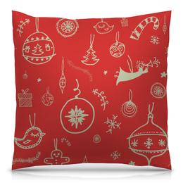 """Подушка 40х40 с полной запечаткой """"Новогодняя"""" - узор, рисунок, игрушка, новогодний, рождественский"""