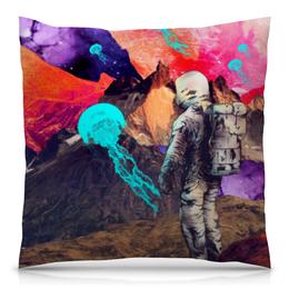 """Подушка 40х40 с полной запечаткой """"Фантастический ландшафт"""" - арт, space, абстракция, космонавт, пространство"""