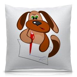 """Подушка 40х40 с полной запечаткой """"Пес Захар пишет письмо"""" - пес, письмо, уроки, писать, сочинение"""