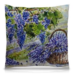 "Подушка 40х40 с полной запечаткой ""Лаванда. Виноград."" - цветы, рисунок, виноград, лаванда, прованс"