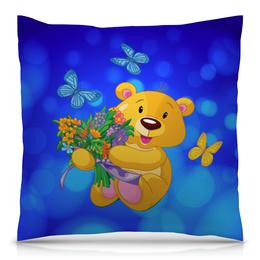 """Подушка 40х40 с полной запечаткой """"Мишка и букет"""" - бабочки, цветы, медведь, мишка, игрушки"""