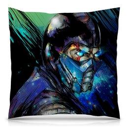 """Подушка 40х40 с полной запечаткой """"Mortal Kombat X (Sub-Zero)"""" - космос, воин, боец, mortal kombat, sub-zero"""