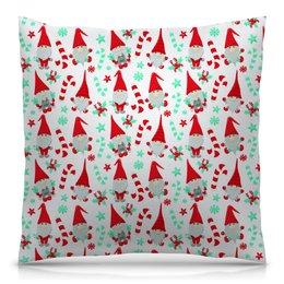 """Подушка 40х40 с полной запечаткой """"Санта"""" - новый год, снежинки, дед мороз, санта, гном"""