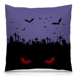 "Подушка 40х40 с полной запечаткой ""Взгляд оттуда"" - хэллоуин, рисунок, взгляд, летучие мыши, кладбище"
