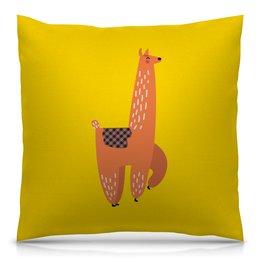 """Подушка 40х40 с полной запечаткой """"альпака"""" - животные, пустыня, мульт, верблюд, альпака"""