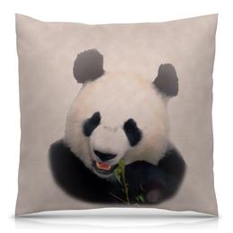 """Подушка 40х40 с полной запечаткой """"Панда"""" - медведь, панда, китай, бело-черный, бамбуковый"""