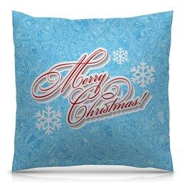 """Подушка 40х40 с полной запечаткой """"Christmas"""" - праздник, новый год, рождество, снежинки, christmas"""