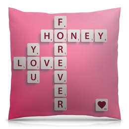 """Подушка 40х40 с полной запечаткой """"Love forever"""" - с надписью, подарок, ко дню влюбленных, для влюбленных, на 14 февраля"""