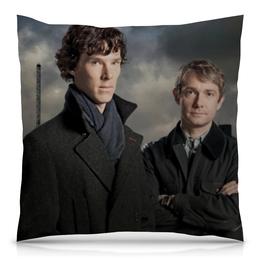 "Подушка 40х40 с полной запечаткой ""Шерлок и Джон"" - доктор, джон, шерлок, холмс, ватсон"