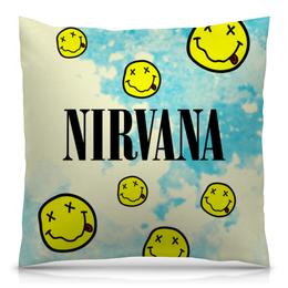 "Подушка 40х40 с полной запечаткой ""Nirvana"" - гранж, nirvana, kurt cobain, курт кобейн, нирвана"