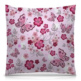 """Подушка 40х40 с полной запечаткой """"Бабочки"""" - бабочки, цветы, розовый фон"""