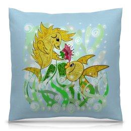 """Подушка 40х40 с полной запечаткой """"Влюбленные рыбки"""" - любовь, цветок, подарок, золотая рыбка, рыбка-конек"""