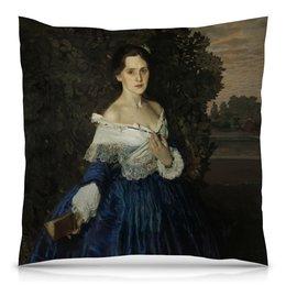 """Подушка 40х40 с полной запечаткой """"Дама в голубом (картина Сомова)"""" - картина, портрет, живопись, модерн, сомов"""